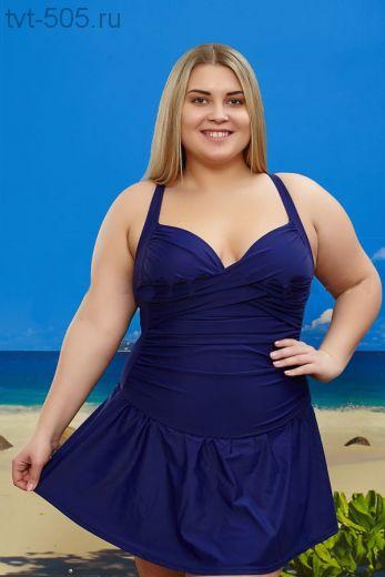 Купальник-платье 9017 слитный синий большой размер 56-64